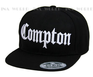 e8cefedfabe COMPTON hat 3D embroidered Snapback Baseball cap Flat Hiphop Bill -  Black White