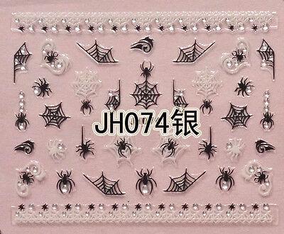 Halloween Black White Spider Webs Silver Rhinestone 3D Nail Arts Sticker Decals - White Halloween Nails