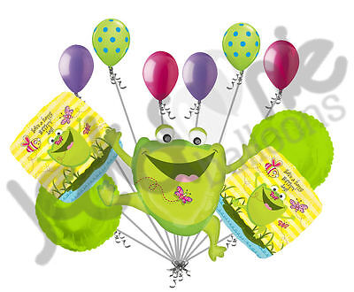 11 pc Happy Jumping Frog Birthday Balloon Bouquet Decoration Amphibian Swamp (Swamp Bug)