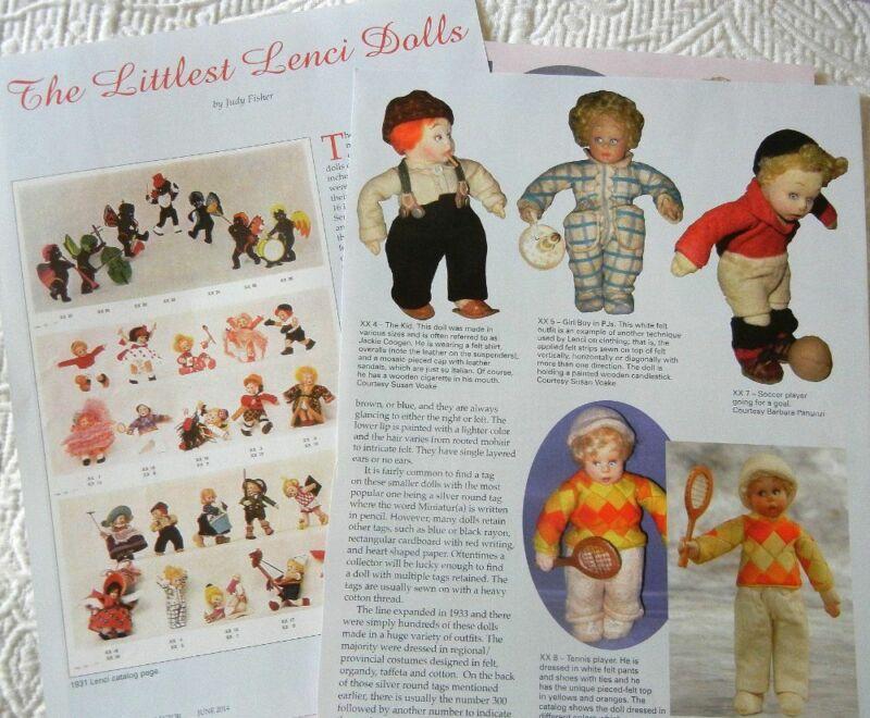 5p History Article -  Rare Antique Lenci Dolls Series XX Miniature Mascottes