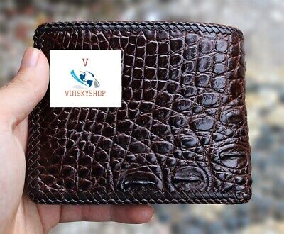 Crocodile Leather Skin Men's bifold wallet, DOUBLE SIDE Brown Genuine Alligator ()