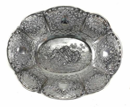 Antique German 800 Silver Pierced Bowl , circa 1900. Repousse Cherubs