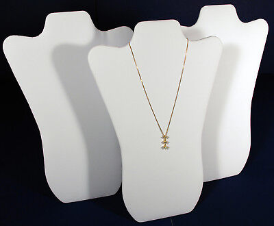 3 White Leather Pendant Necklace Jewelry Display 14