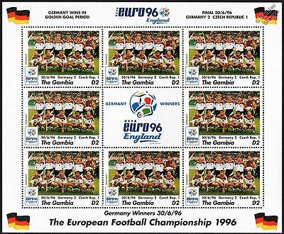 GERMANY WINNERS - EURO 96 UEFA Championship Football Stamp Sheet (1996 Gambia)