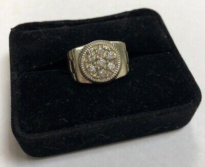 14K White Gold Men's .42 Ct TW Diamond Rolex Style Ring Size 7.25