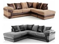 **1 YEAR WARRANTY**BRAND NEW DINO LARGE FABRIC CORNER SOFA - 2 COLOURS AVAILABLE - EXPRESS DELIVERY