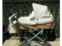 Beautiful cream leatherette and wicker babystyle lux collection pram