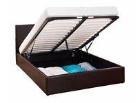 🔥🔥BLACK BROWN & WHITE FINISH💗🔥Double Gas lift Storage Ottoman Leather Bed & MEMORY FOAM Mattress