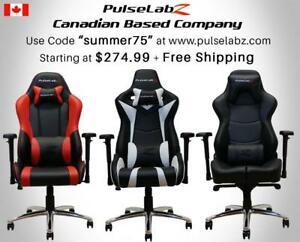 "Pulselabz Gaming Chairs l Canadian Company l Starting at $274.99 + Free Shipping +10 Year Warranty | Use code ""summer75"""