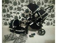 Icandy Peach Black Magic With Carrycot Double Buggy/Pram/Pushchair