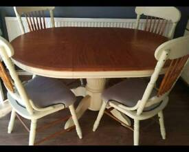 Extendable pine dining table 4 chairs