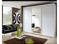EXCLUSIVE OFFER! Free Delivery! Brand New !Monoco 3 door sliding wardrobe in black white wenge