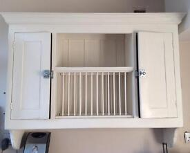 Wooden plate holder and cupboards