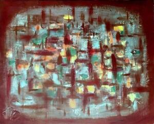 16x20 HUMAN MOSAIC - New Abstract Art Painting by Valerie Koudelka Oakville, On Brown green blue yellow grid MCM Style