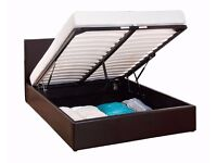 NEW - AMAZING Offer -Double Ottoman Storage Frame Black Brown Leather Bed With Deep Quilt Mattress