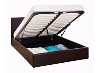new offer DOUBLE LEATHER STORAGE BED WITH SUPREME ORTHOPEDIC MATTRESS BLACK BROWN BED OTTOMAN BED