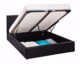 GET YOUR ORDER TODAY! BRAND NEW DOUBLE LEATHER OTTOMAN STORAGE BED W MEMORY FOAM ORTHOPEDIC MATTRESS
