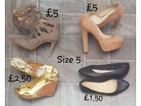 Ladies size 4 and 5 footwear