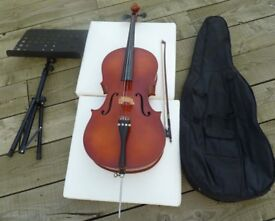 3/4 Size Stentor Cello, all Hand carved from solid tonewoods