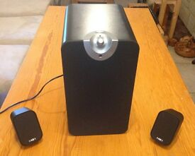 Acoustic Energy Aego M 2.1 speakers, black: boxed, as-new, barely used, normally £199
