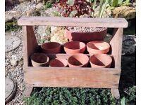Trug with vintage pots