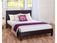 ''CLEARANCE STOCK'' -- Double Leather Bed Frame With Mattress -- Order Now