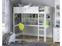 EX DISPLAY Stars High Sleeper Bed,Desk & Shelves- White