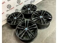 "GENUINE 19"" BMW MSPORT ALLOY WHEELS - 5 X 120 - GLOSS BLACK"