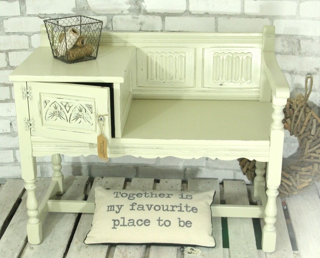 Shabby Chic Old Charm Telephone Table Hall Seat With
