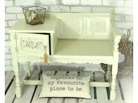 SHABBY CHIC OLD CHARM TELEPHONE TABLE, HALL SEAT WITH CUPBOARD