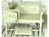 HALL GOSSIP BENCH WITH STORAGE, GORGEOUS ORNATE TELEPHONE SEAT & TABLE
