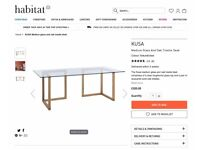 Habitat Kusa Oak Glass Desk Trestle Home Office or Study