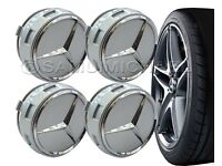 4 x AMG MERCEDES BENZ SILVER ALLOY WHEEL CENTRE CAPS NEW RAISED DESIGN STYLE