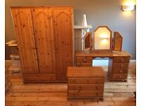 Pine furniture set - wardrobe, dressing table, mirror, chest of drawers