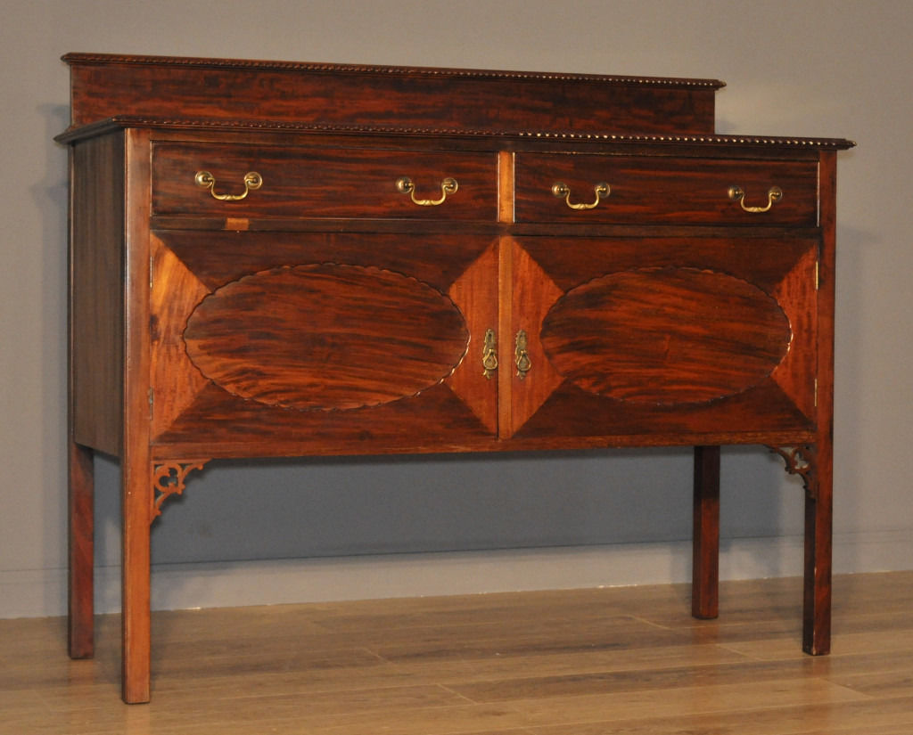 Attractive Vintage Mahogany Gallery Back Sideboard With Cupboards & Drawers