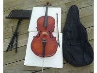 Beautiful 3/4 Stentor Cello it is Hand carved from solid tone woods