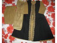 Black and Brown Cotton Salwar Kameez Suit