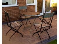 FOLDING GARDEN/PATIO/BISTRO TABLE AND 4 CHAIRS