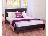 Memory Foam Mattress! Brand New Double Leather Bed with Memory Foam Orthopedic Mattress - BRAND NEW!