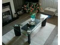 Matching glass coffee table and side table