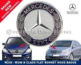 MERCEDES B CLASS BONNET BADGE W245/246 FLAT STYLE 2 PINS NEW A6388170116