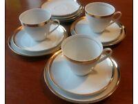 Bohemia Czechoslovakia Brigitta Tea set Cups Saucers Plates White Gold Set of 3