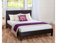BRAND NEW DOUBLE LEATHER BED FRAME WITH SEMI ORTHOPAEDIC 4FT6 MATTRESS EXPRESS DELIVERY LONDON