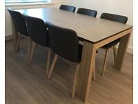 Calligaris Extending Dining Table Ceramic Top & Leather Chairs
