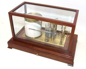 SEWILLS LIVERPOOL Mahogany Cased Bevelled Glass Barograph & Chart Drawer