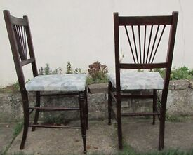 Dining chairs Vintage Set of 2 antique chairs bedroom chairs carved solid wood