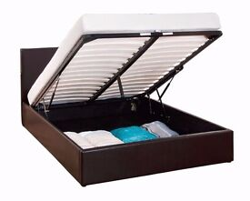 Ottoman Double Size Storage Bed Upholstered in Faux Leather, 4ft 6ft or 4ft, Black/Brown/White