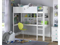 EX DISPLAY Stars High Sleeper Bed,Desk & Shelves- White