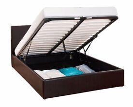 BRAND NEW DOUBLE LEATHER OTTOMAN STORAGE BED FRAME WITH SUPER ORTHOPAEDIC MATTRESS (4FT6)