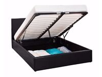 **GET THE BEST SELLING BRAND** NEW DOUBLE GAS LIFT LEATHER STORAGE BED WITH MEMORY FOAM MATTRESS